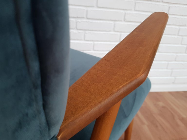 Mid-20th Century Danish Armchair, Velour, 1960s, Completely Restored For Sale