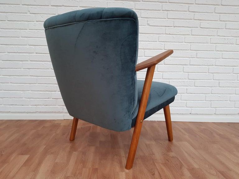 Velvet Danish Armchair, Velour, 1960s, Completely Restored For Sale