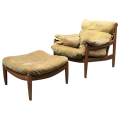 Danish Armchair with Footrest Covered with Original Green Fabric, 1960