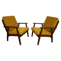 Danish Armchairs, 1960s, Loose Cushions, Wool Fabric, Completely Restored