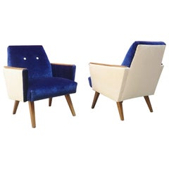 Danish Armchairs in White and Blue Velvet with Wooden Armrests from 1960s
