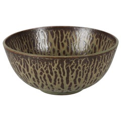 Large  Arne Bang Stoneware Bowl with Brown/Green Glaze, Art Deco 1930s
