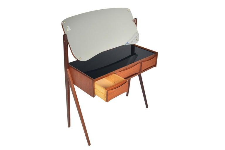 Scandinavian Modern Danish Arne Vodder Teak V-Legged Vanity For Sale