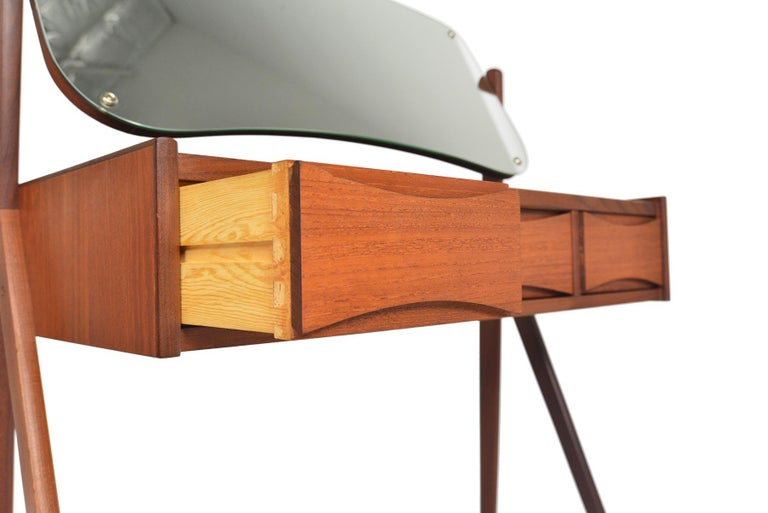 Danish Arne Vodder Teak V-Legged Vanity In Good Condition For Sale In Berkeley, CA