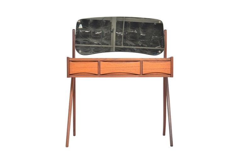 20th Century Danish Arne Vodder Teak V-Legged Vanity For Sale