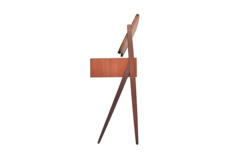 Danish Arne Vodder Teak V-Legged Vanity For Sale 1