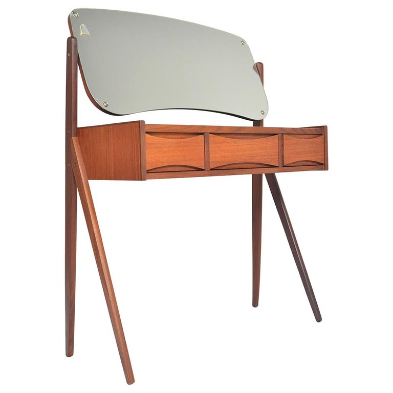 Danish Arne Vodder Teak V-Legged Vanity For Sale