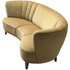 Danish Art Deco 'Banana' Settee with Olive Green Velours