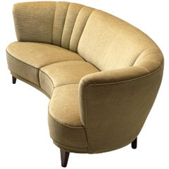 Danish Art Deco 'Banana' Sofa with Velvet Upholstery