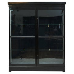 Danish Art Deco Black Polished Vitrine Cabinet