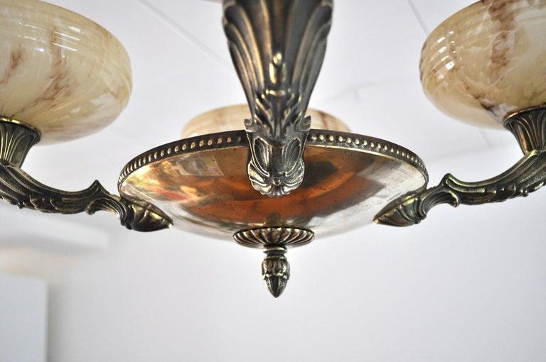 Danish Art Deco Brass and Opaline Glass Chandelier, 1930s For Sale 6