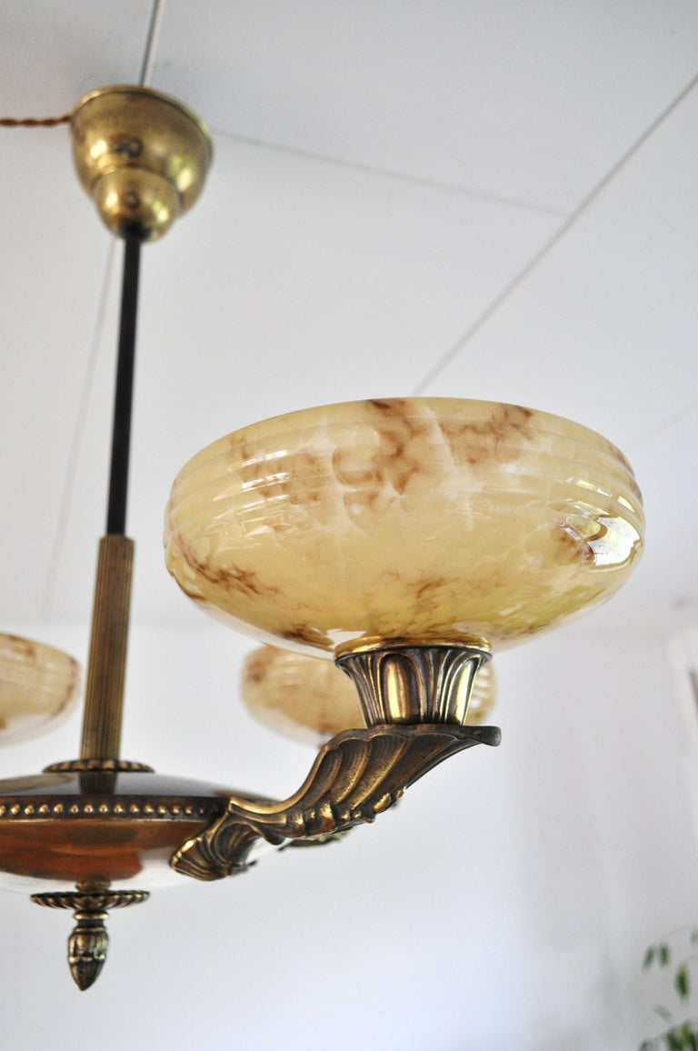 Danish Art Deco Brass and Opaline Glass Chandelier, 1930s For Sale 5