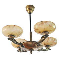 Danish Art Deco Brass and Opaline Glass Chandelier, 1930s