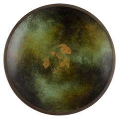 Danish Art Deco Bronze Dish with Gold Decoration, Just Andersen Style, 1940s