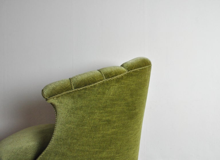 Danish Art Deco Chair in Green Velvet, 1920s-1930s For Sale 6