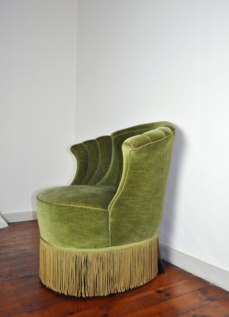 Danish Art Deco Chair in Green Velvet, 1920s-1930s In Good Condition For Sale In Vordingborg, DK