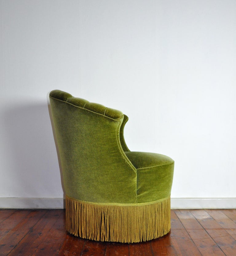 20th Century Danish Art Deco Chair in Green Velvet, 1920s-1930s For Sale
