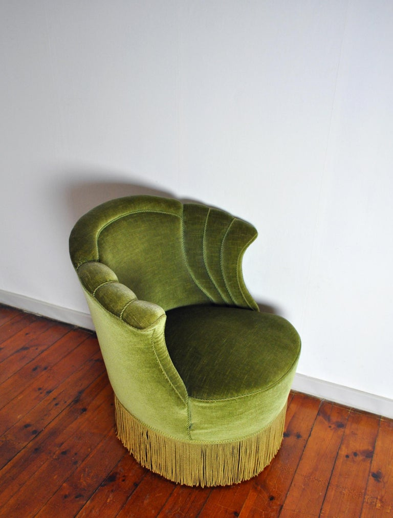 Danish Art Deco Chair in Green Velvet, 1920s-1930s For Sale 1
