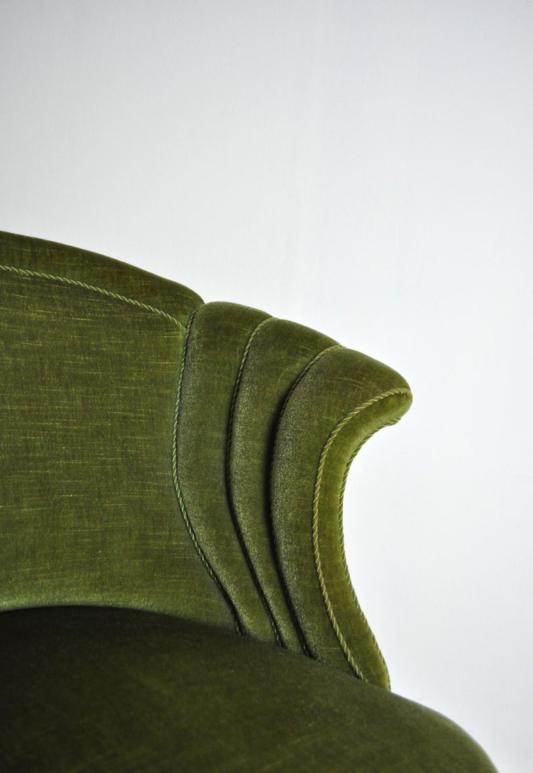 Danish Art Deco Chair in Green Velvet, 1920s-1930s For Sale 3