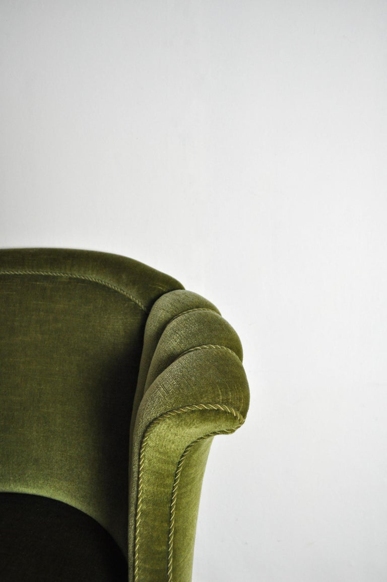 Danish Art Deco Chair in Green Velvet, 1920s-1930s For Sale 4