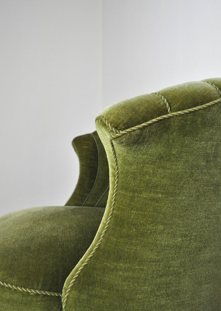 Danish Art Deco Chair in Green Velvet, 1920s-1930s For Sale 5