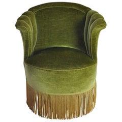 Danish Art Deco Chair in Green Velvet, 1920s-1930s