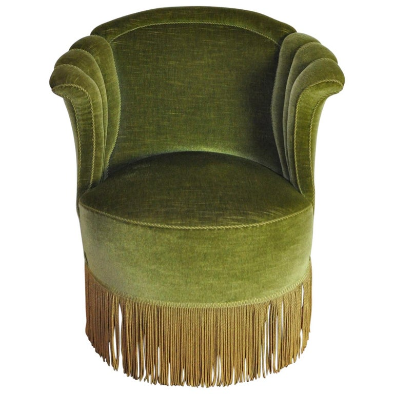 Danish Art Deco Chair in Green Velvet, 1920s-1930s For Sale