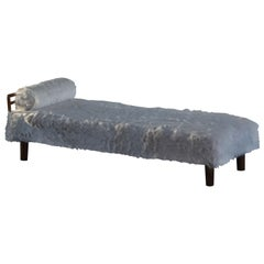 Danish Art Deco Daybed Reupholstered in Teddy Bear Wool, 1940s