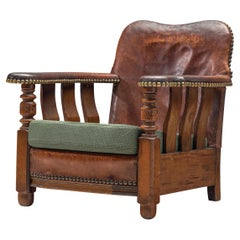 Danish Art Deco Lounge Chair with Patinated Leather