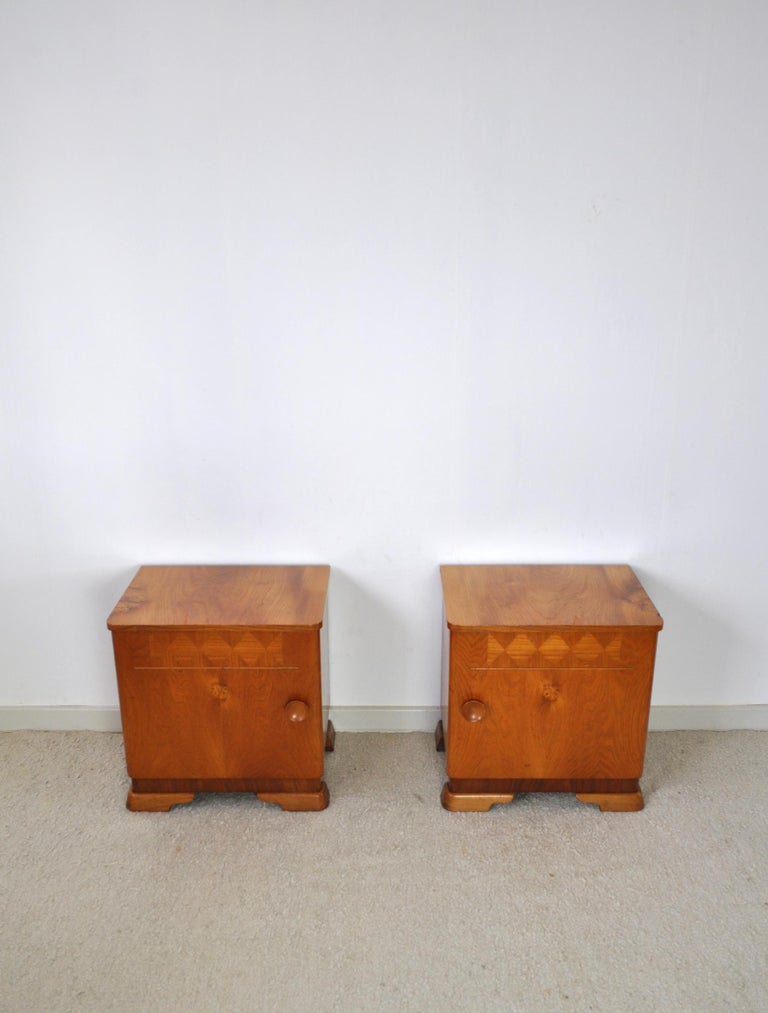 Veneer Danish Art Deco Pair of Nightstands or Small Cabinets, 1930s For Sale