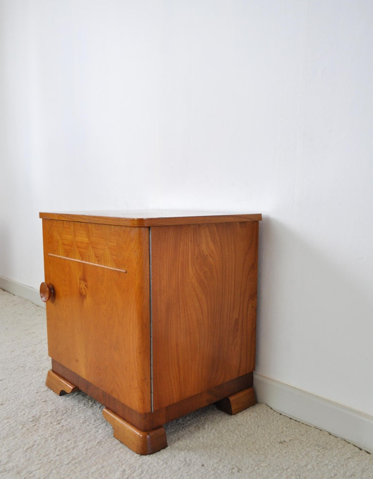 Elm Danish Art Deco Pair of Nightstands or Small Cabinets, 1930s For Sale