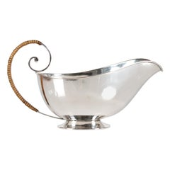 Danish Art Deco Silver Sauce Boat 830s with Straw Handle Danish Silver Made 1933