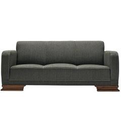 Danish Art Deco Sofa in Blue Upholstery