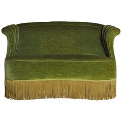 Danish Art Deco Sofa in Green Velvet, 1920s-1930s