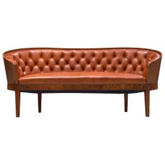 Danish Art Deco Sofa with Walnut Frame and Tufted Red Leather