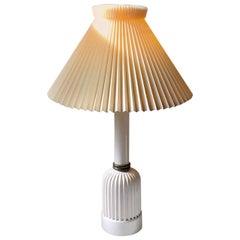 Danish Art Deco Table Lamp in White Glazed Ceramic by Christian Schollert, 1940s
