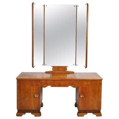 Danish Art Deco Vanity Desk with Tri-Folding Mirrors, 1930s