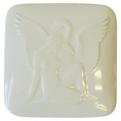 Danish Art Deco White Porcelain Box with Female Figure and Bird Design, Denmark