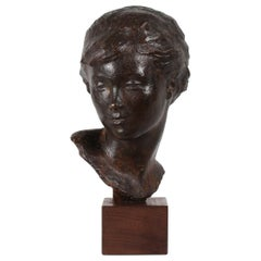 Danish Artist Anker Hoffmann Midcentury Bronze Bust of Young Girl, 1960s