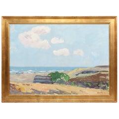 Danish Artist Axel P. Jensen Painting Landscape in Denmark Oil on Canvas, 1942