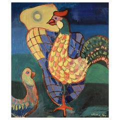 "Danish Artist, Oil on Canvas, ""Rooster and chicken"", Mid-20th Century"