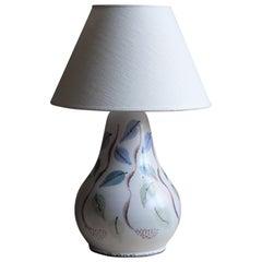 Danish Artist, Organic Studio Table Lamp, Painted Stoneware, Denmark, 1960s