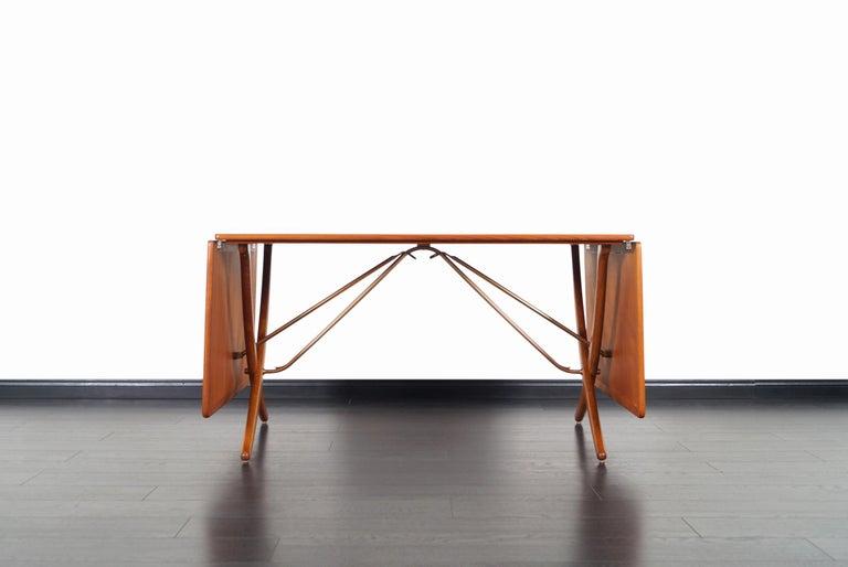 Brass Danish AT-304 Dining Table by Hans J. Wegner for Andrea Tuck For Sale