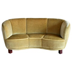 Danish Banana Form Curved Sofa in Original Green Mohair, 1940s