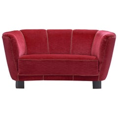 Danish Banana Settee in Magenta Fabric