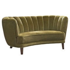 Danish Banana Sofa in Green Velvet, 1940s