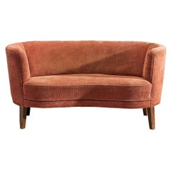 Danish Banana Sofa in Pink Upholstery, 1940s