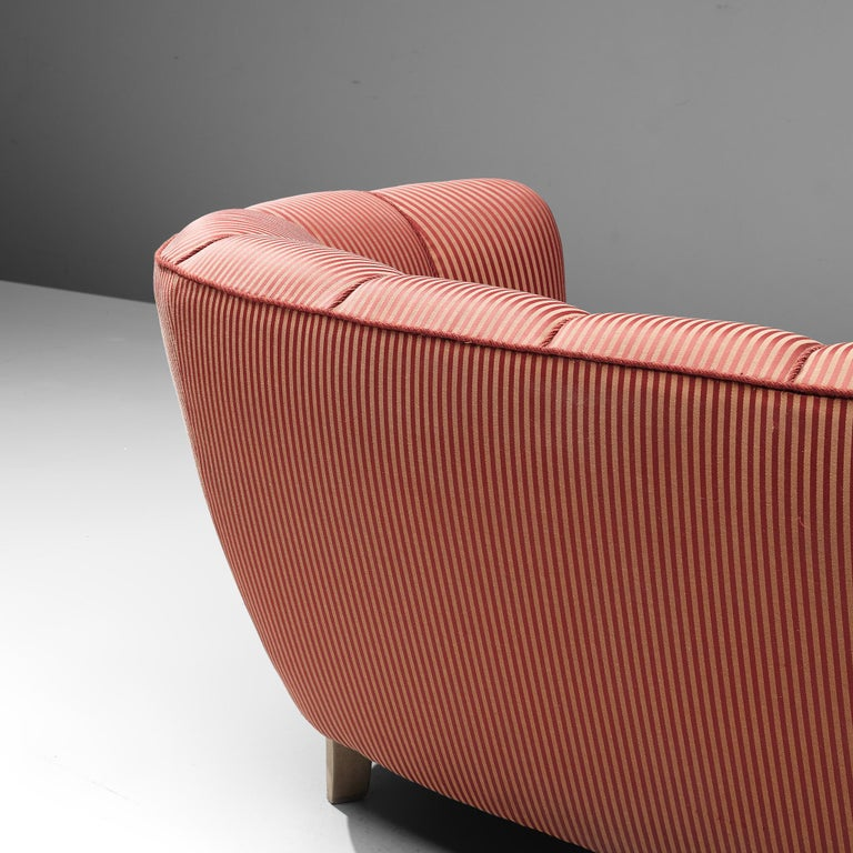 Danish Banana Sofa in Striped Upholstery For Sale 4