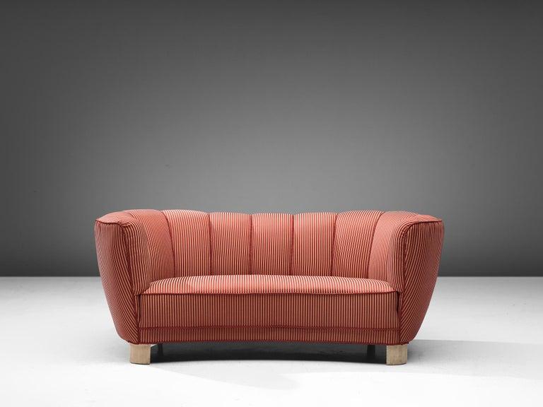 Scandinavian Modern Danish Banana Sofa in Striped Upholstery For Sale