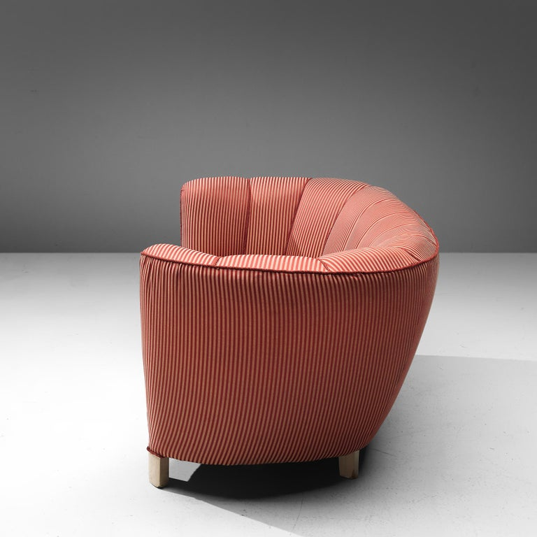 Mid-20th Century Danish Banana Sofa in Striped Upholstery For Sale